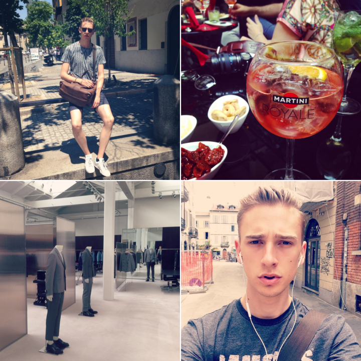 Clockwise: Cocktails at the  Martini and Dolce & Gabbana bar  on Corso Venezia | after brunch around Navigli, Porta Genova | casting at the holy halls of Prada  |  around Corso Como wearing my favorite  Marc by Marc Jacobs tee (on sale, 50% off!)