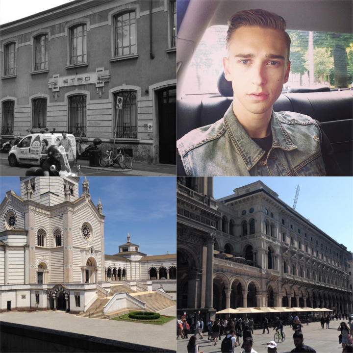 Clockwise: UBER-ing through town (don't forget to use the code   lips2lagerfeld   when signing up to get Fr. 40.- off your first ride!)  |  on Piazza Duomo  |  Cimitero Monumentale  |   Etro  headquarters on Via Spartaco
