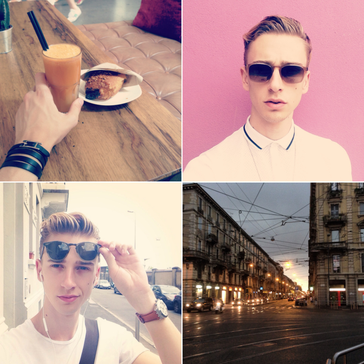 "Clockwise: at the  nhow Hotel Milano  for a casting wearing a  Zara  poloshirt and  VIU sunglasses   |  stormy evening  |  weekend-selfie wearing  Garrett Leight sunglasses ,  Swatch watch  and  COS  t-shirt  |  juicing up with a "" Green Blast "" (celery, apple and carrot) at the  Juice Bar  behind Duomo"