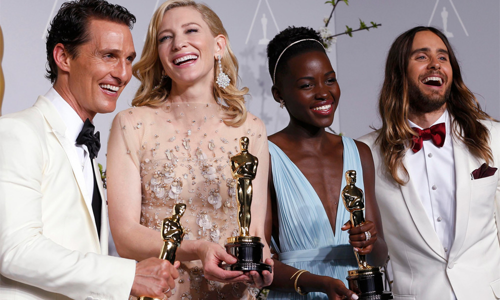 from left to right: Matthew McConaughey, Cate Blanchett, Lupita Nyong'o and Jared Leto