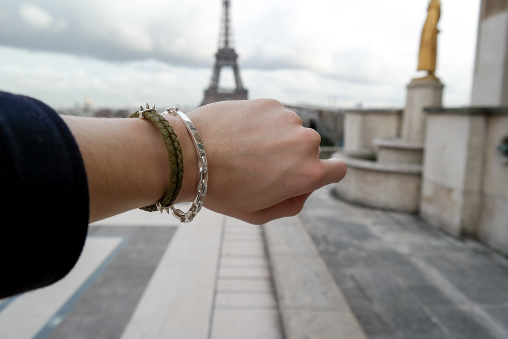 My new favorite Bernard James bracelets with the Eiffel tower in the back