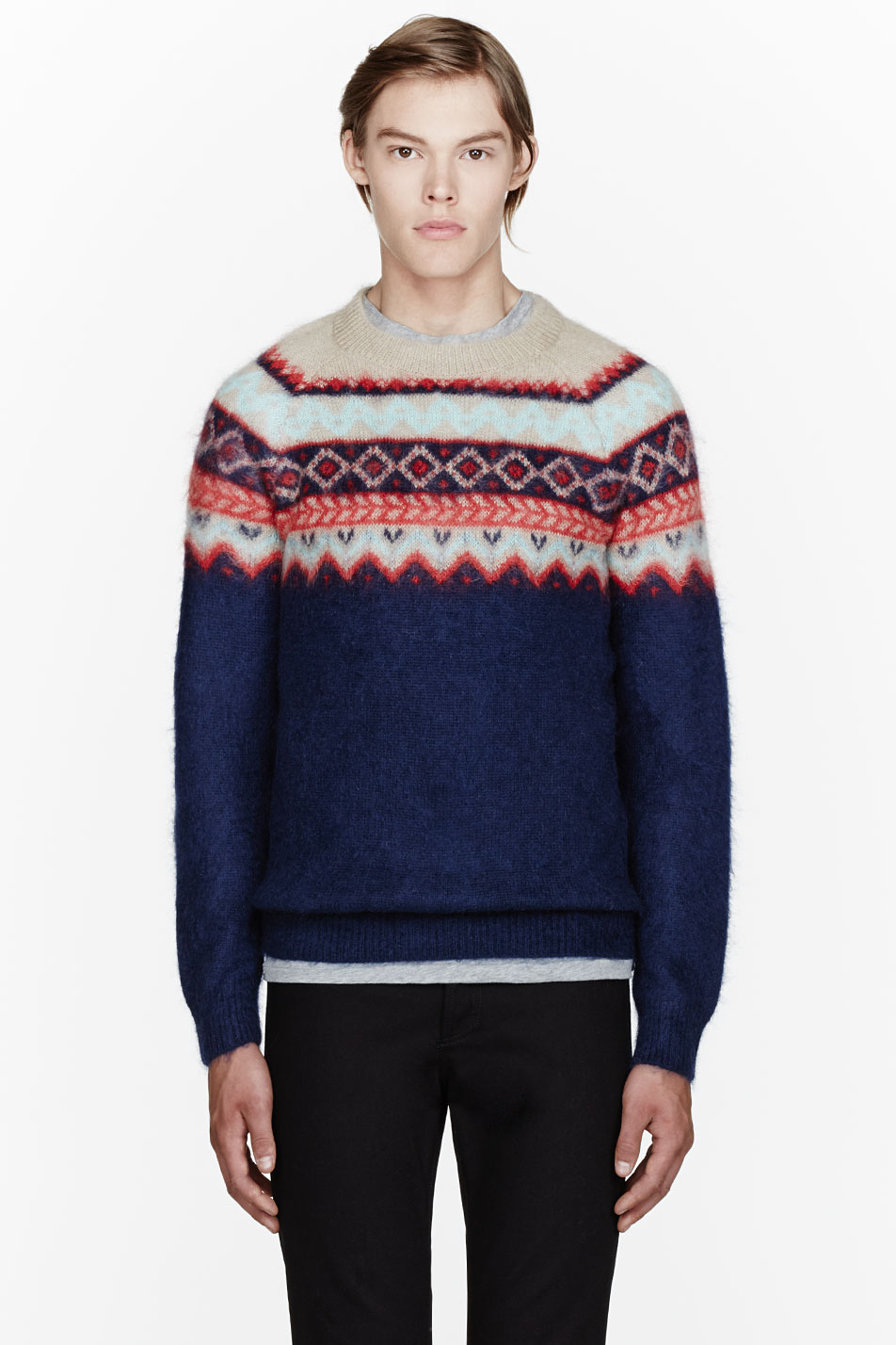 Carven navy mohair patterned winter sweater