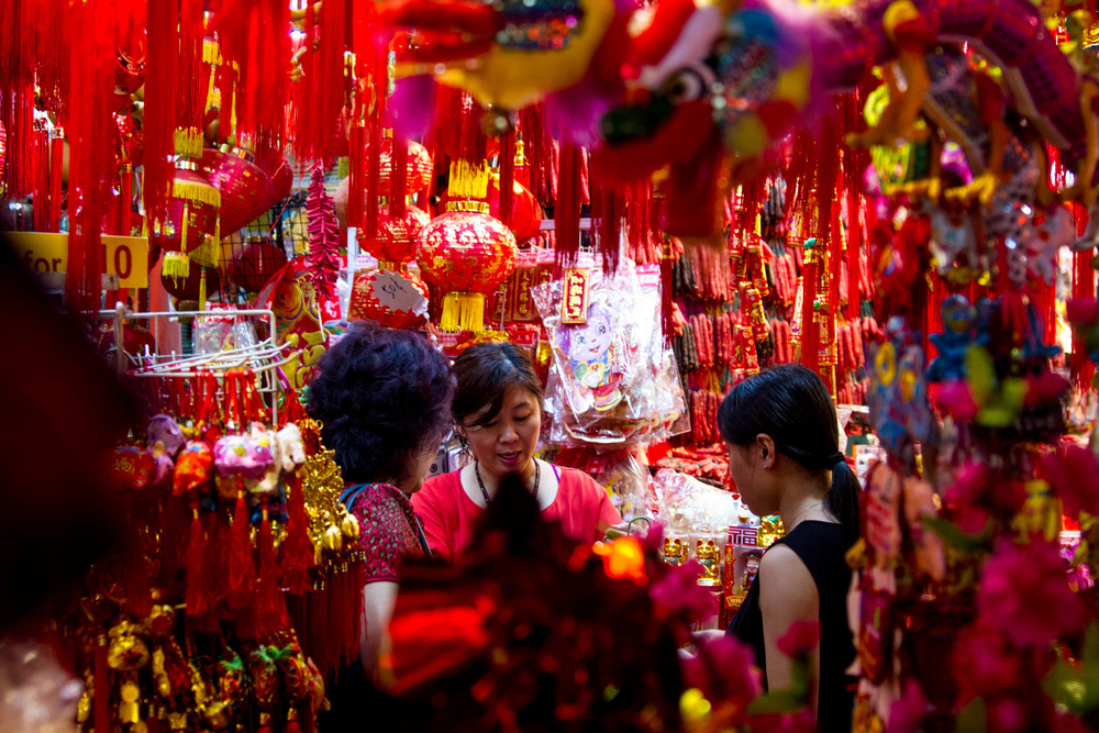 Chinese New Year festival shop in Singapore.