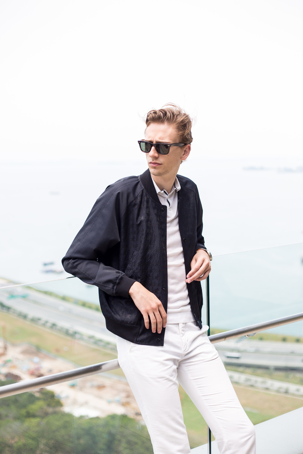 I am wearing a Paul Smith Bomber jacket via Club21, Zara Polo shirt, GANT trousers and Ray-Ban Wayfarer sunglasses.