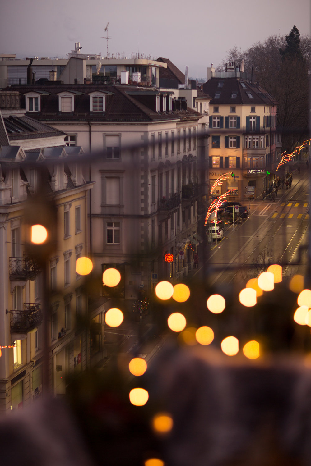 Christmas lights over the Seefeld district in Zurich.