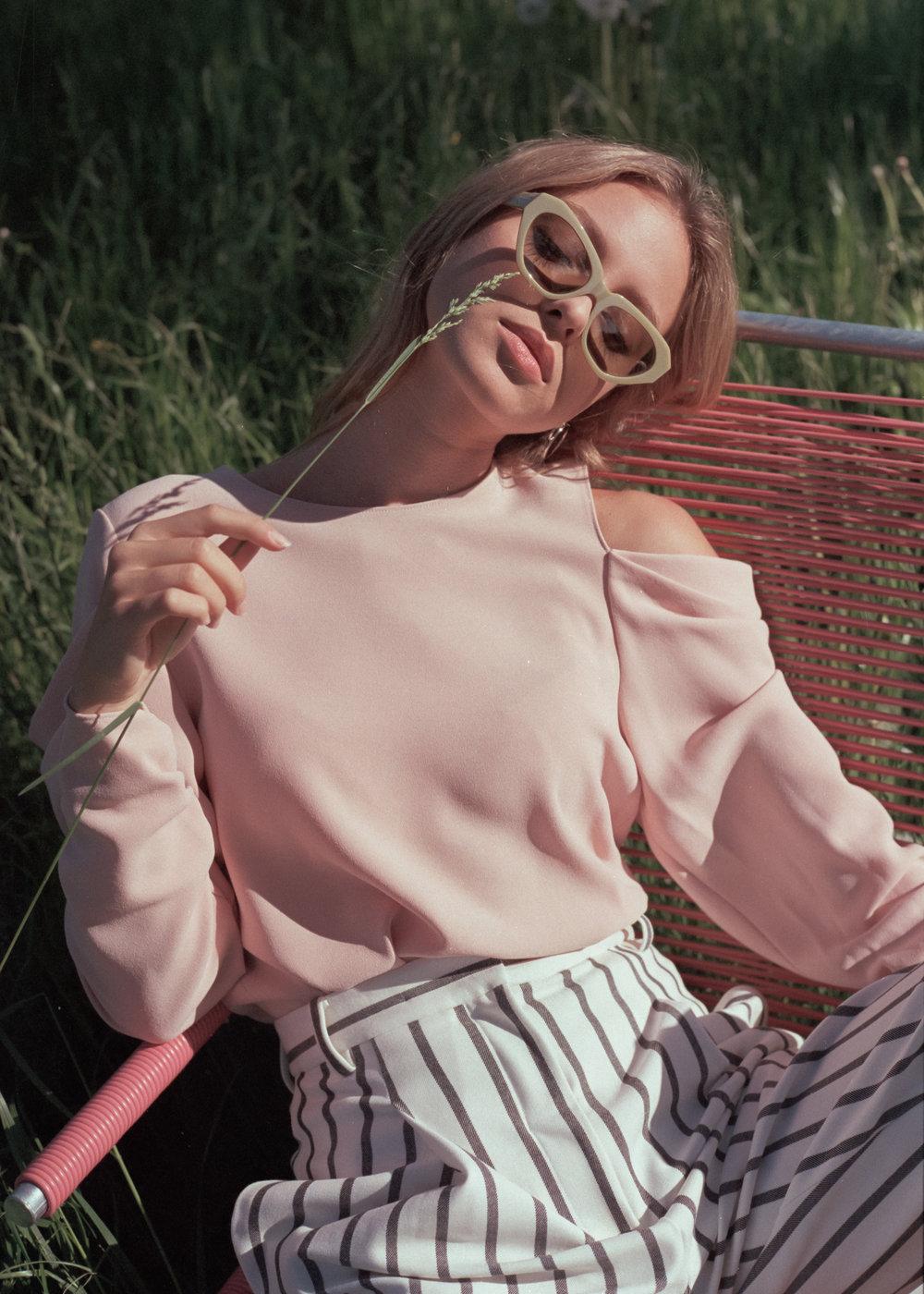 Tibi top and trousers, Acne Studios sunglasses