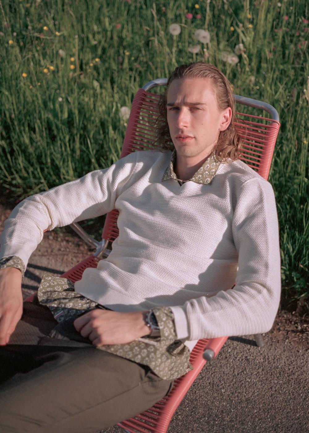 Fidelio sweater, Tintoria Mattei shirt, Myths trousers