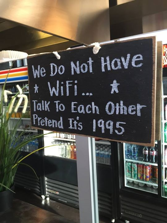 A sign in a cafe in Annapolis, Maryland that harks back to simpler times...