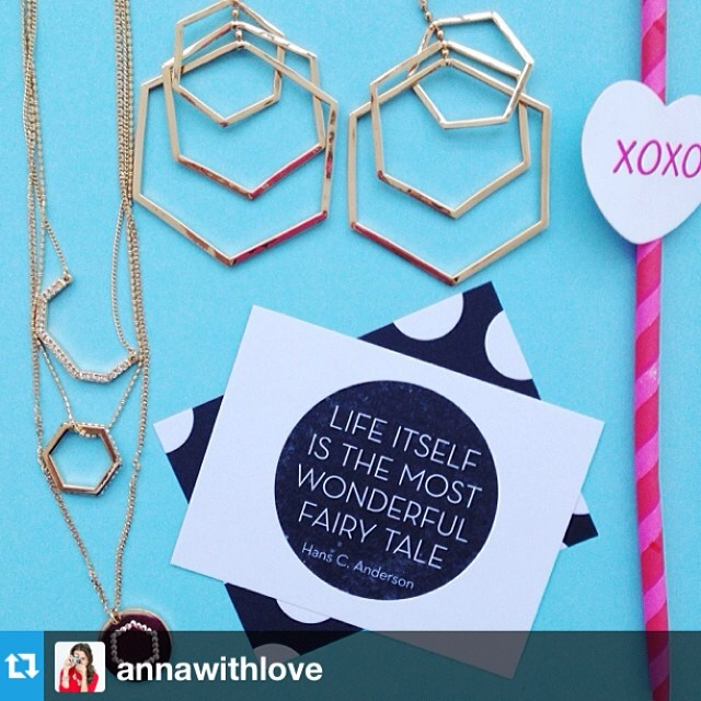 #Repost from @annawithlove our Icon Hexagon Charm pendant and Force Triple Drop Earring have never looked better! Thanks for the feature Anna!
