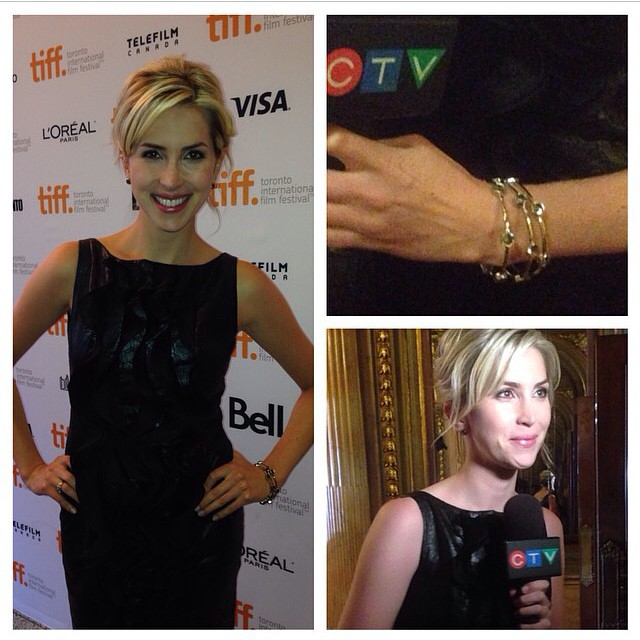 #regram the beautiful @ashleyrowectv wearing our @cocolanejewels Bold Hex Bangles on the #TIFF Red Carpet #ootd
