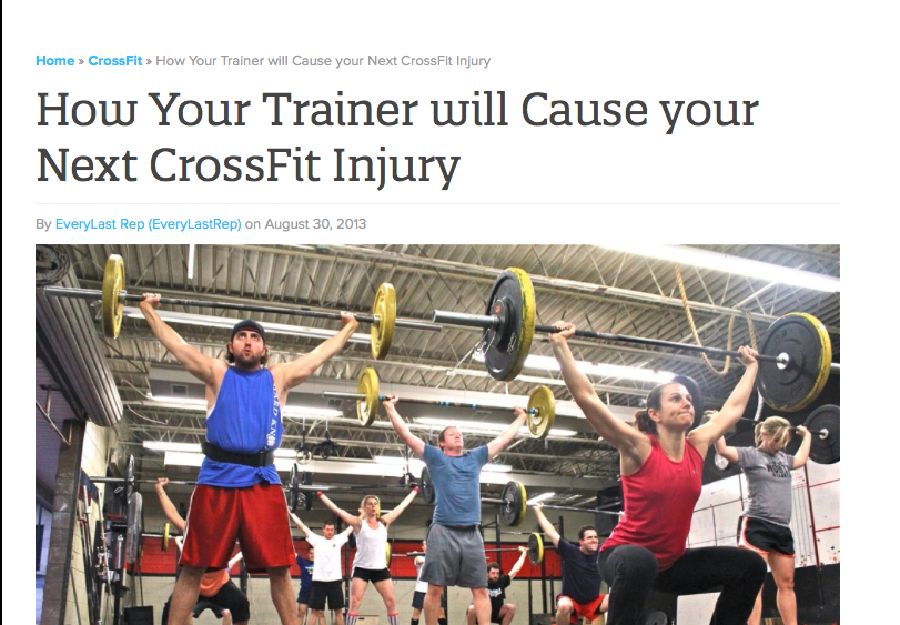 Not just at CrossFit...this can be true with any irresponsible trainer.