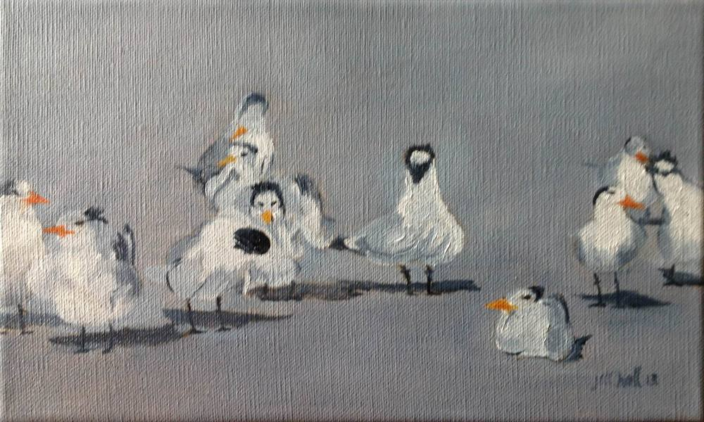Royal Terns - 6x10 on linen