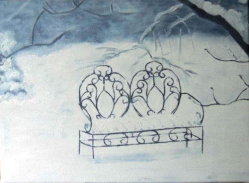 Bench in Snow - 11x14