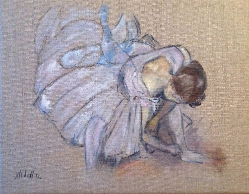Dancer Adjusting Her Shoe - 11x14 on linen
