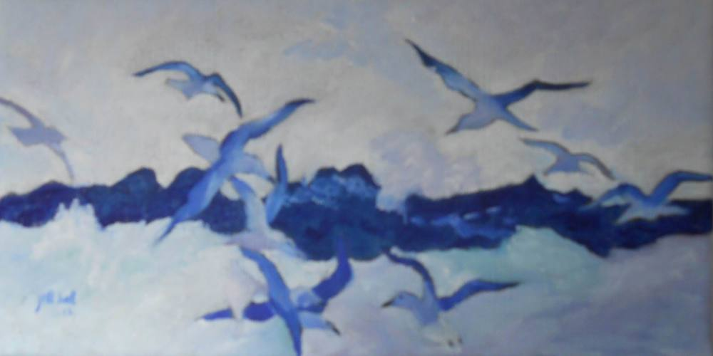 Seagulls in the Surf - 5x10 on linen