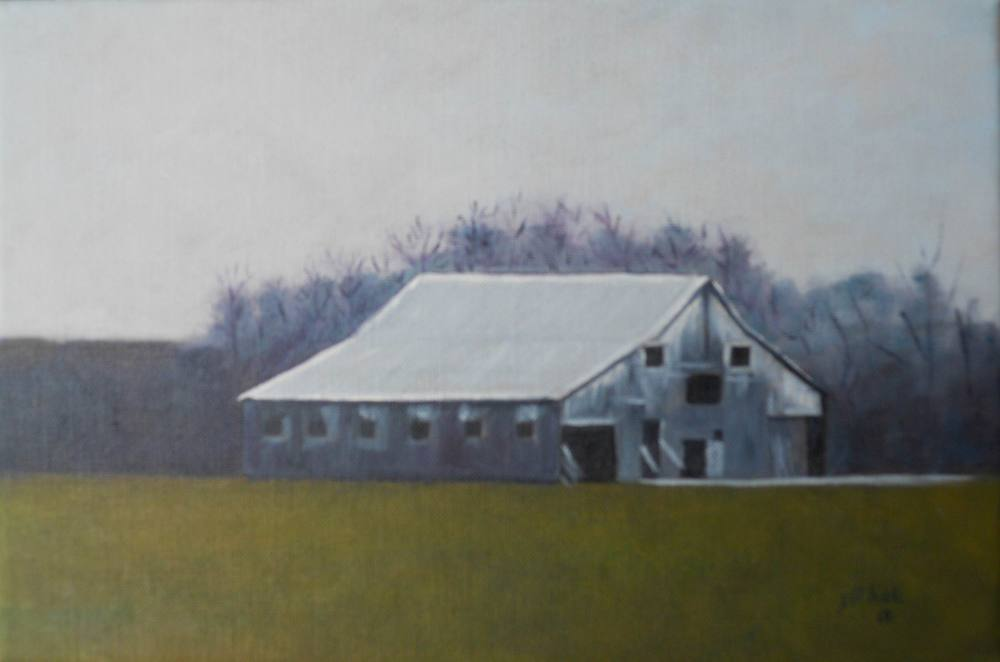 Steeplechase Barn - 8x12 on linen