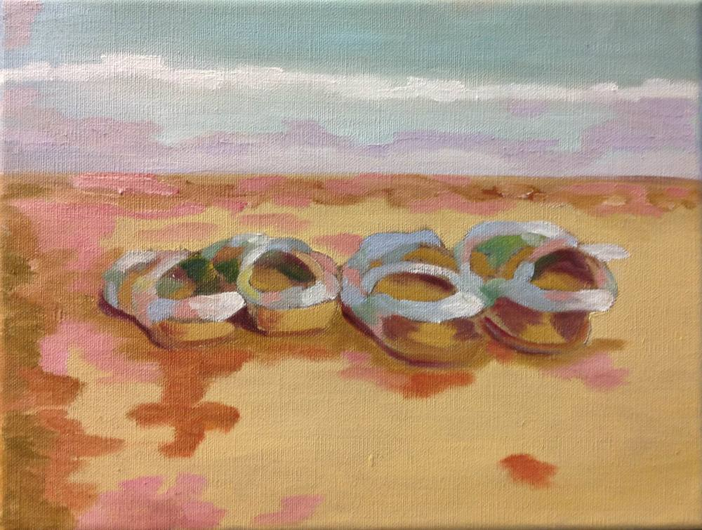 Lena's and Calli's Sandals - 9x12 0n linen