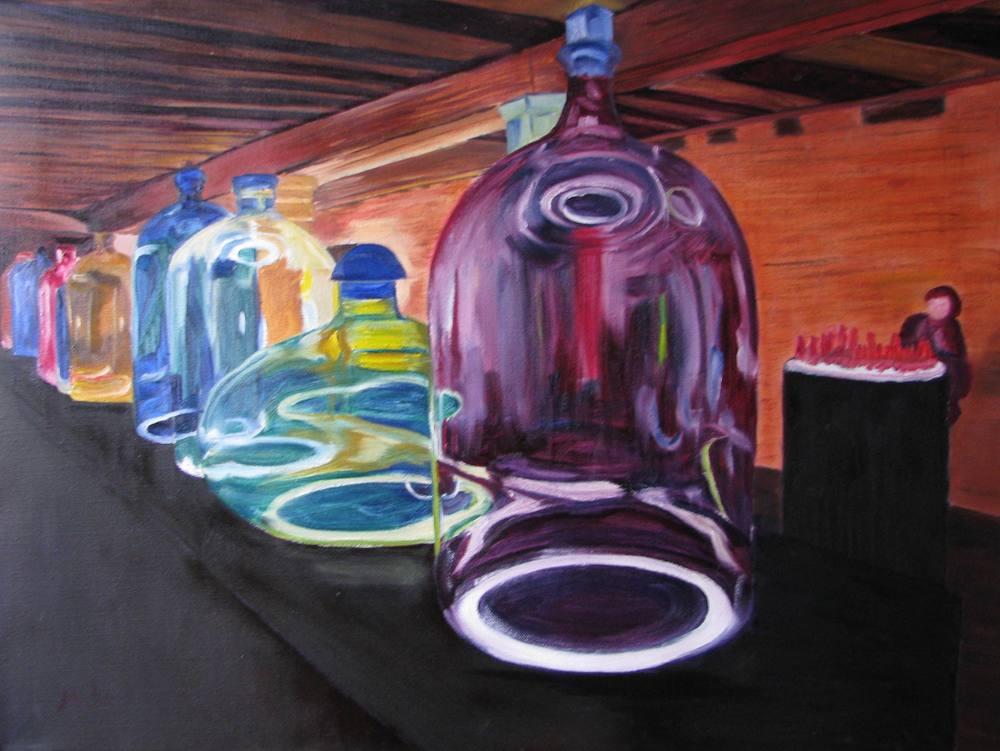 Venice Bottles - 18x24 on linen