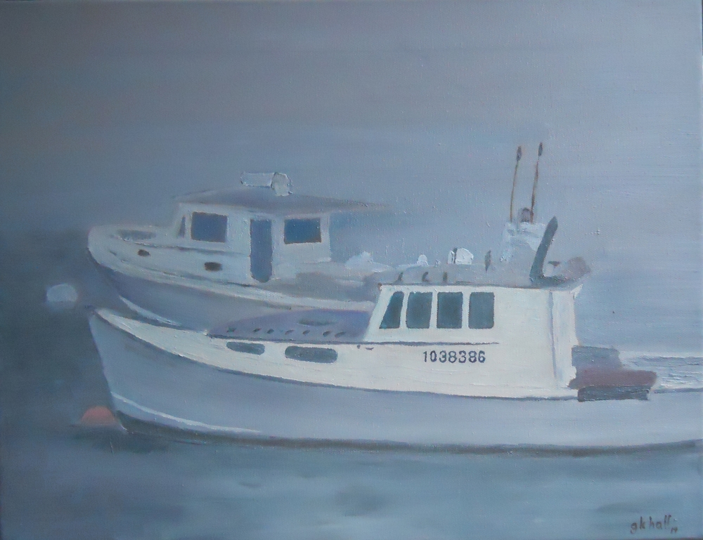 Maine Boats in Fog - 16 X 20