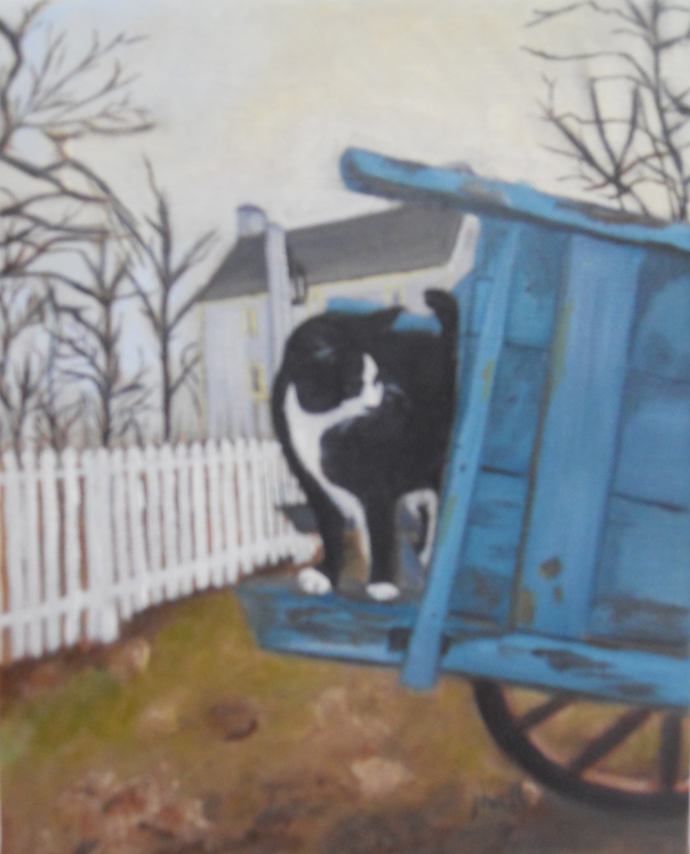 Cat & Shaker Wagon - 10 X 8 on linen