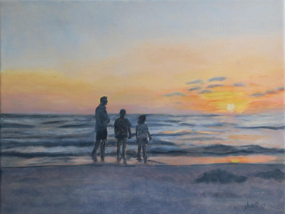 Seth with children, Clearwater Beach - 11 X 14