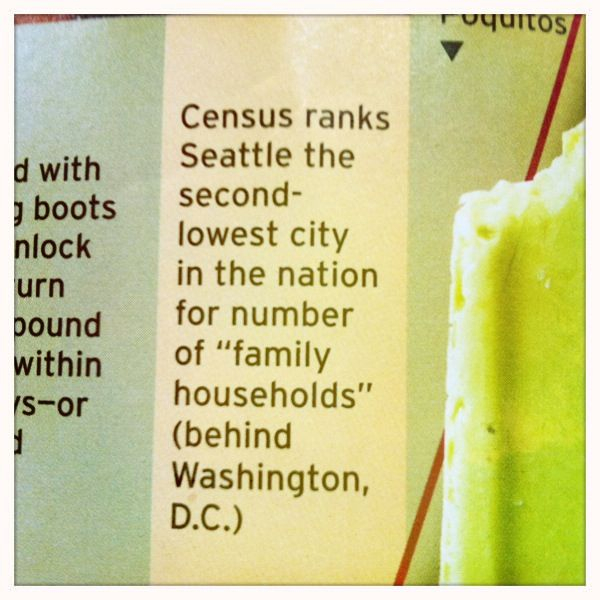 """Census ranks Seattle the second-lowest city in the nation for # of """"family households"""" (behind Washington DC) - Seattle Mag, August"""