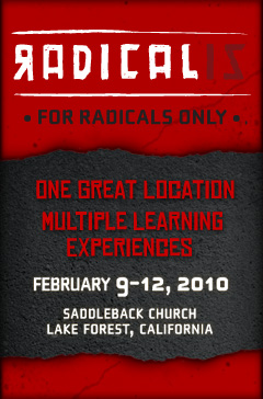 "I'm w/ a crew from MHC this week in Cali. Between 9-10AM this morning @PastorMark is speaking at Radicalis - a conference for pastors at Saddleback. You can stream it live via the link above. (Note: Facebook users select ""View Original Link"".)"