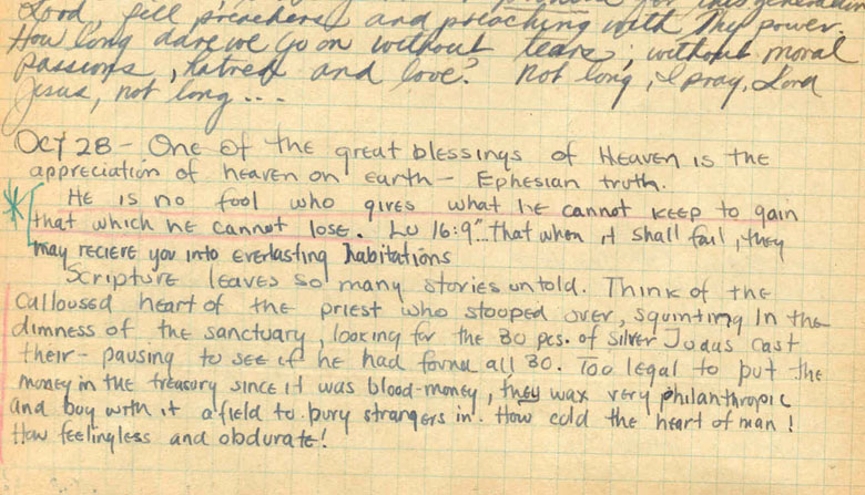 "Thought this was interesting. ""He is no fool who gives what he cannot keep to gain that which he cannot lose"" is the best known quote of Jim Elliot, martyred missionary to the Waorani Indians in Ecuador. The photo above is of his journal in which this quote was discovered. You never know how God may use your simple hand-written journal entries to impact a generation and magnify Christ."