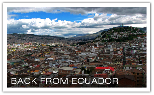 "Current blog series, ""Back from Ecuador"", in which I recount my recent trip to South America w/ Acts 29 International. We're seeking to build a movement of church-planting-churches south of the border. Please prayer for us. Ping me if you're interested in getting involved."