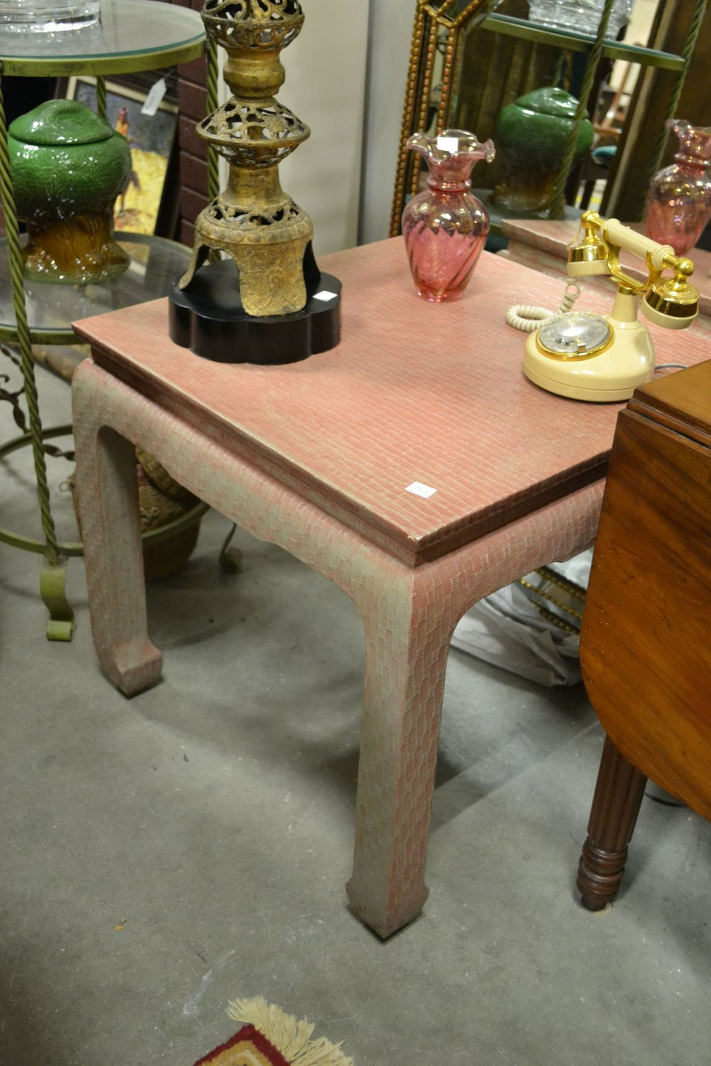 a classic asian inspired table; not lovin' the pink - but that's what paint is for!