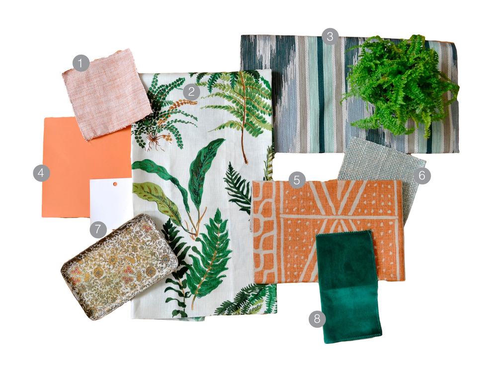 1.  orange tweed  | 2.  frond print  | 3.  green flamestitch  | 4.  ben moore harvest moon  | 5.  orange print  | 6.  mint tweed  |  7.  ben moore white blush  | 8.  green velvet