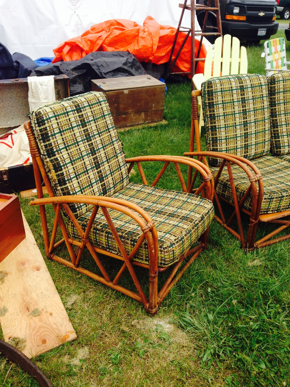 These rattan chairs were great because they are low to the ground and cozy. Needs new cushions.