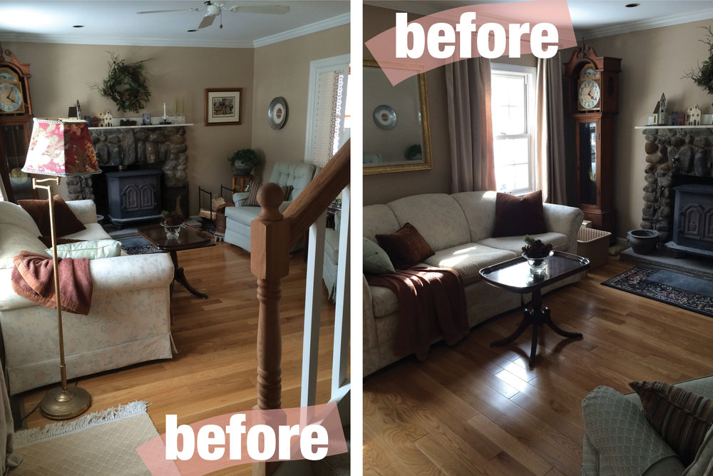 Before after a quaint living room rehabitat for Old deep house