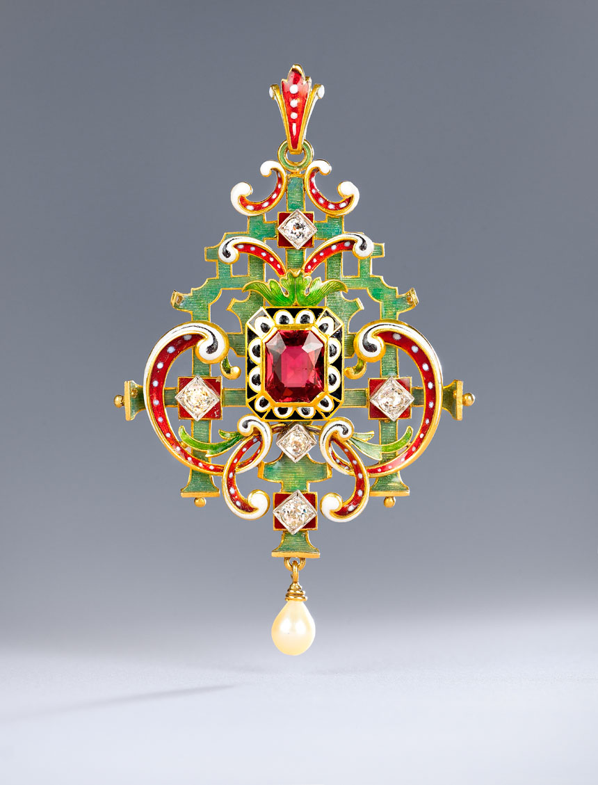 Image:Lucien Falize (1839-1897), Neo-Renaissance Pendant, about 1880. Gold, diamonds, tourmaline, pearl, and enamel. ©Julien Vidal/ Petit Palais/ Roger-Viollet