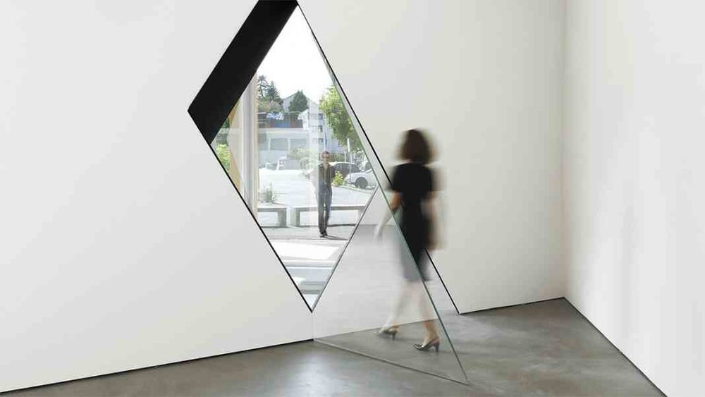 Image:  Sarah Oppenheimer,   33-D  , 2014.   Aluminum, glass and architecture.   Total dimensions variable.   Installation views: Kunsthaus Baselland, 2014. Photos © Serge Hasenböhler.