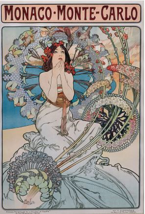 Image: Alphonse Mucha, Monaco, Monte Carlo, 1897, color lithograph on paper, 29.25 x 42.25 inches.
