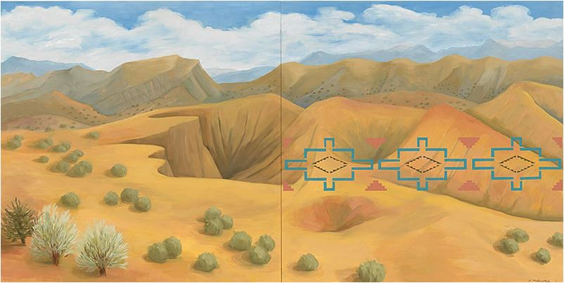 Image: Kay WalkingStick, New Mexico Desert, 2011, Oil on wood panel, 40 x 80 x 2 in. Purchased through a special gift from the Louise Ann Williams Endowment, 2013. National Museum of the American Indian 26/9250, Courtesy American Federation of Arts.