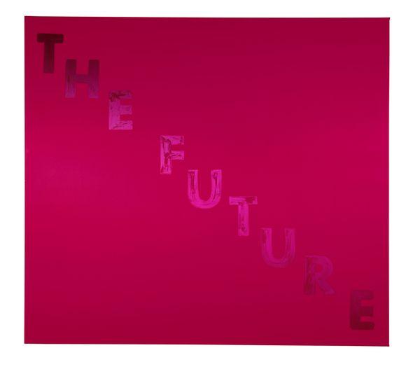 Ed Ruscha, The Future. 1974 Egg Yolk on Satin