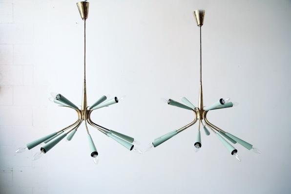 French lightolier sputnik inspired pendants