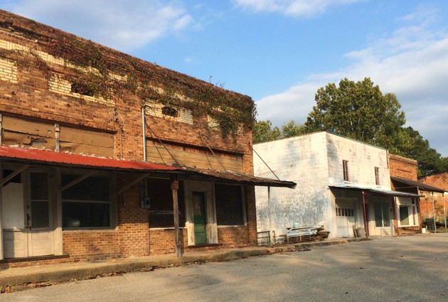Empty storefronts in Hollow Rock