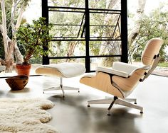 Eames Lounge Chair and Ottoman, White Ash