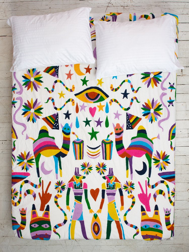 Holy Mountain Embroidered Coverlet