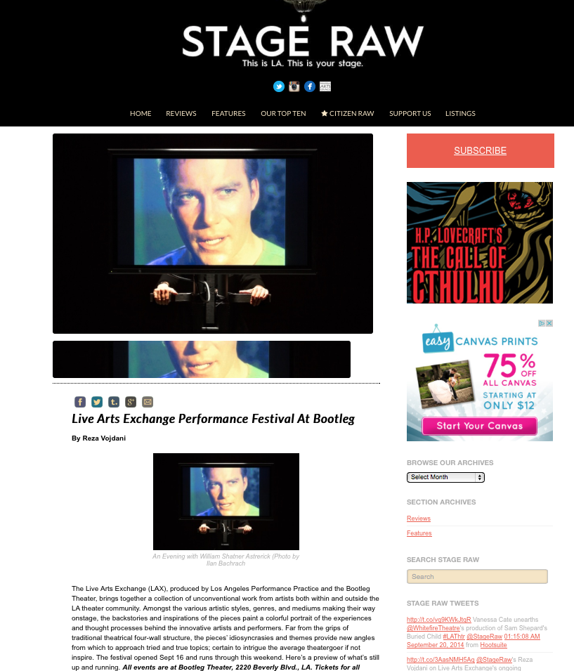 STAGE RAW // Exclusive Shows Reviews