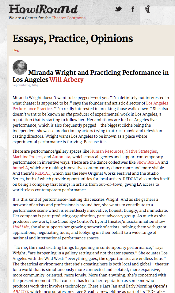 HOWLROUND // Miranda Wright Profile Review