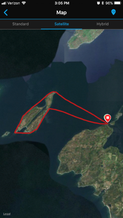 Satellite view of my route.  Total journey was about 15.5 miles.