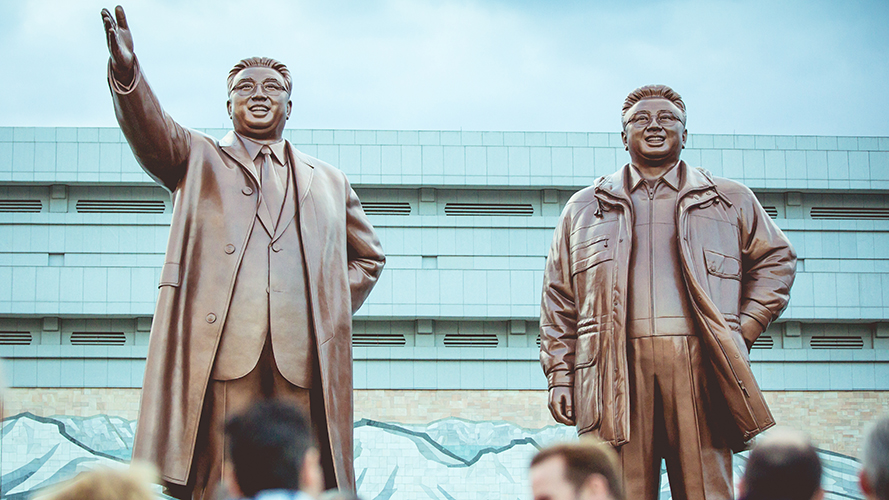 Kim Il-Sung and Kim Jong Il statues at Mansudae Grand Monument