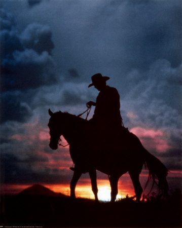 ewing-galloway-cowboy-and-sunset