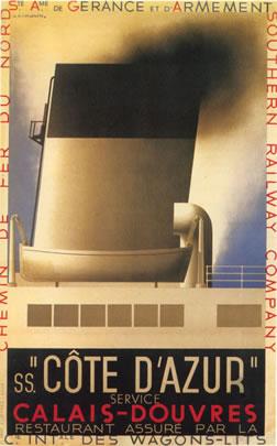 Cote D'Azur Vintage Travel Poster, Cassandre 1931.