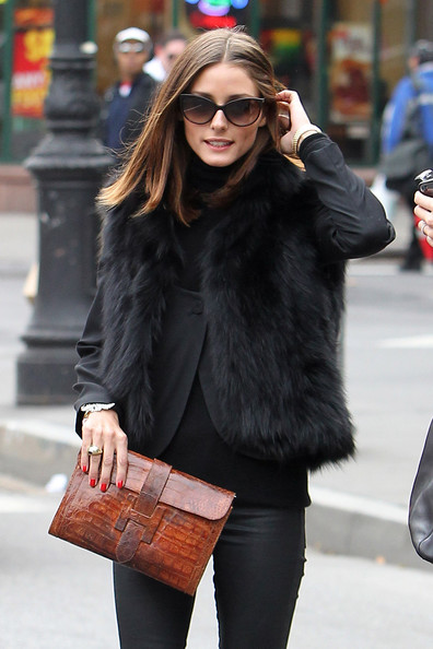 Olivia Palermo take the fur vest up a notch