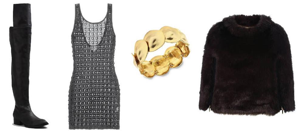 Jeffrey Campbell  boots ~  Lisa Maree  top ~  Jones New York  bracelet ~  Juicy Couture  faux fur jacket.